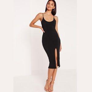 MISSGUIDED Black Strappy Spli Midi Dress